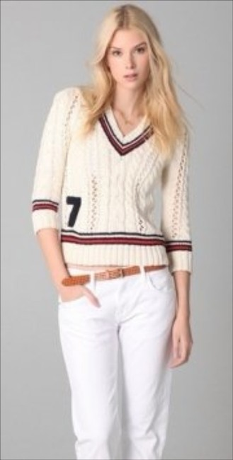 Juicy Couture Cream Crop Crochet V-neck 3/4 Sleeve Striped Red White Blue Sweater