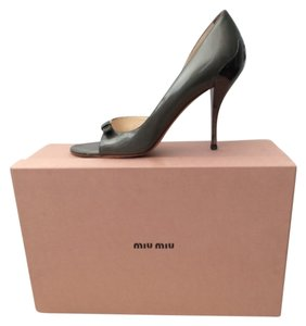 Prada Matte Silver Patent Leather Pumps