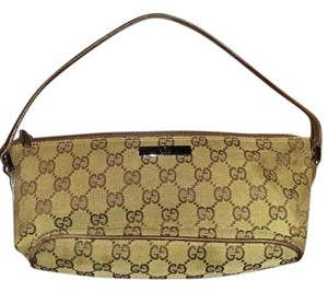 Gucci Fabric Leather Small Baguette