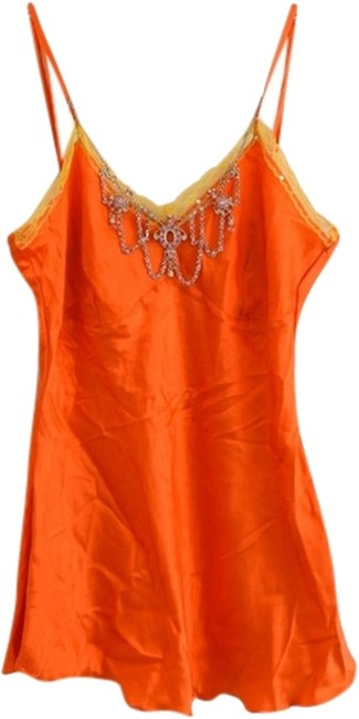 Spy Zone Exchange Bright Silk V-neck Embellished Top Bright Orange