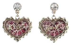 Betsey Johnson Betsey Johnson Lovely Leopard Pink Leopard XOX Kiss Drop Earrings B07542-E01