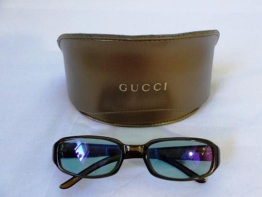 Gucci Gucci Sunglasses Brown With Dark Green Lenses and Golden Logo