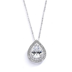 Silver/Rhodium 3 Crystal Pendant Bridesmaids Necklace
