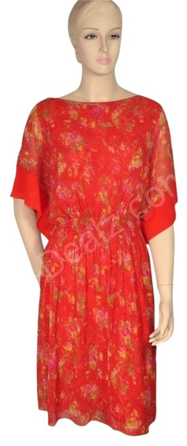 Preload https://img-static.tradesy.com/item/798880/jean-paul-gaultier-red-floral-summer-resort-mid-length-cocktail-dress-size-10-m-0-4-650-650.jpg