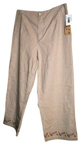 Ami 97%cotton 3%spandex Machine Washable Capris Beige and White Check with Embroidery on leg cuffs