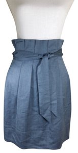 BCBGMAXAZRIA High Waist Tie Waist Pleated Day To Evening Mini Skirt Denim
