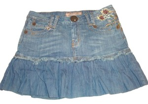 Candie's Coachella Denim Jeans Festival Embroidered Mini Skirt blue
