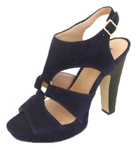 Sole Society Suede Wide Straps High Foot Open Toe Slingback Gold Center Ring Midnight Blue Platforms