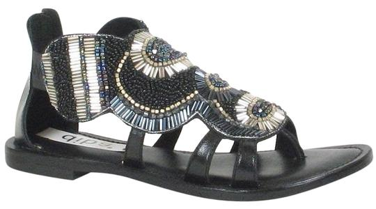 Diba Beading Beaded Zip Leather Black Sandals
