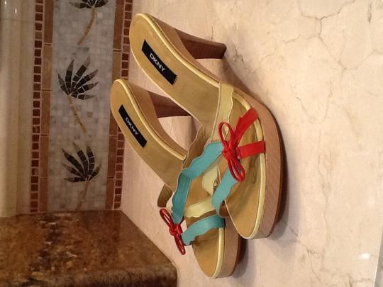 DKNY Light green/light Limey yellow/red bow Sandals