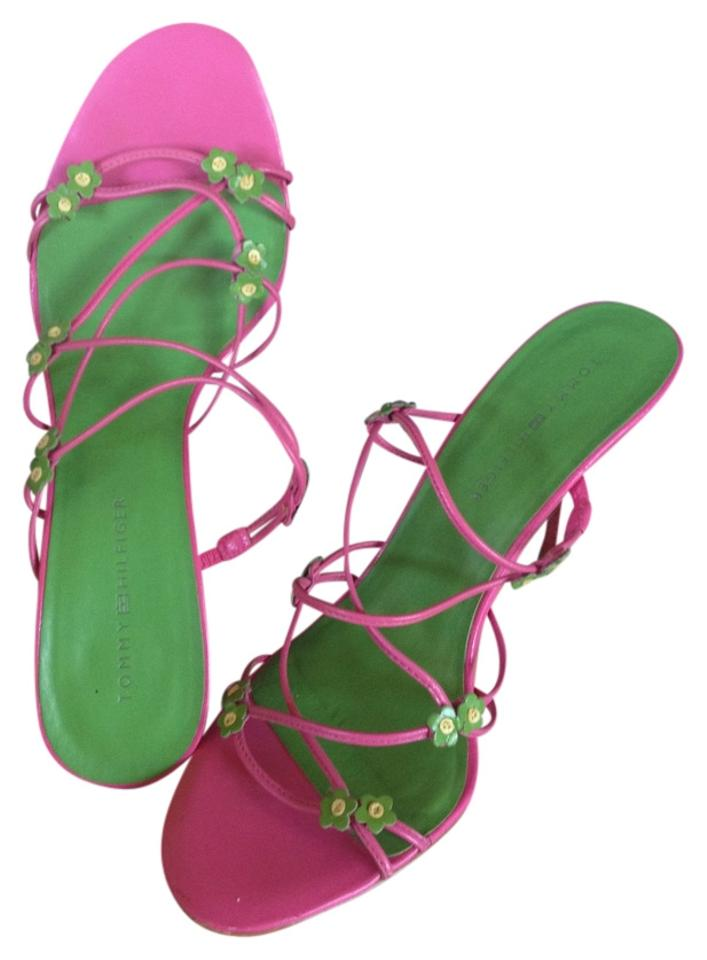 86d72b4eee5 Tommy Hilfiger Pink   Green Sandals Size US 8 - Tradesy