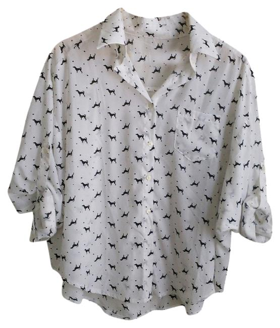 Preload https://img-static.tradesy.com/item/799750/white-with-dog-print-blouse-size-8-m-0-0-650-650.jpg