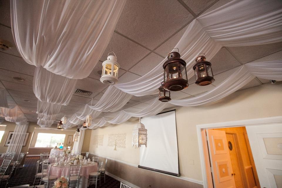 White Ceiling Draping Fabric And Instructions Dropped