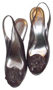 Alfani Leather Slingback Brown Leather Wedges