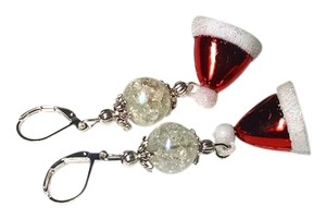 New Handmade Santa Hat Christmas Earrings Red White Silver J1447