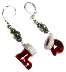 Christmas Santa Boot & Mitten Earrings Red White J1448