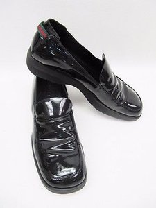 Gucci Patent Leather Slip On Loafers B Black Flats