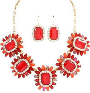 Other Floral Red Statement Necklace Set