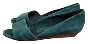 Les Prairies de Paris Suede Suede Modern Mid-century Forest Green Wedges