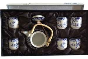 Lanse Jingdian 7 Piece Tea Set/ Blue and White Porcelain