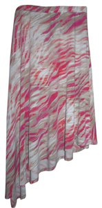 Chico's Stretchy Jersey Print Skirt Pink, Tan & White
