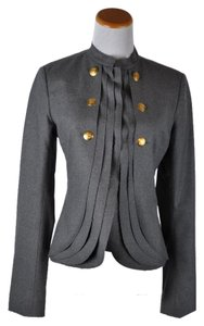 Fendi Military Inspired Wool Silk Jacket Size 40 Made In Italy Grey Blazer