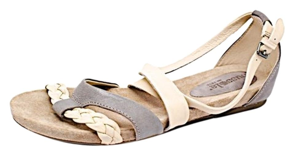 a6541a40d49 Gray Bone Bussola Gray Bone Leather X-strap W Buckle - Great - 41 Us11  Sandals