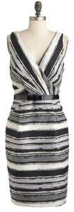 Eva Franco Sleeveless Belted Striped Sheath Dress