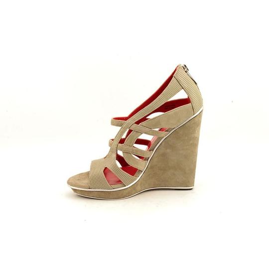 Charles Jourdan Leather Suede Gray-Green Wedges