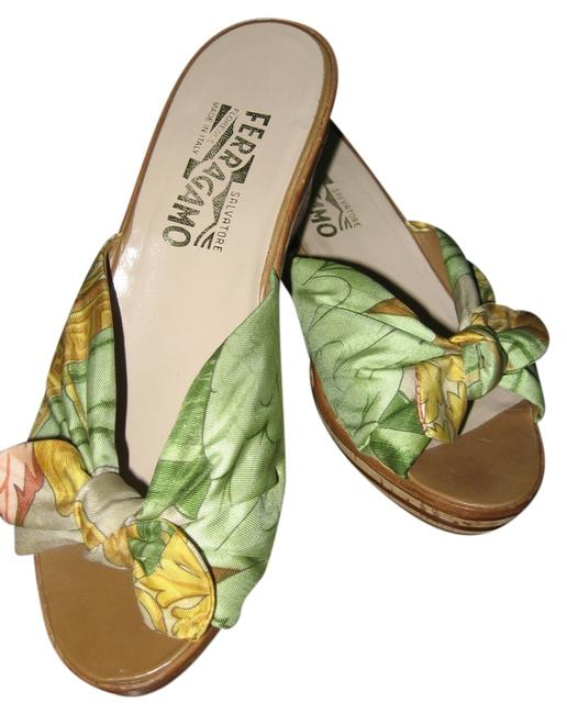 Item - Lovely Green Bronze & Maise Fabric Never Worn Mint Condition Made In Italy Wedges Size US 8.5 Regular (M, B)