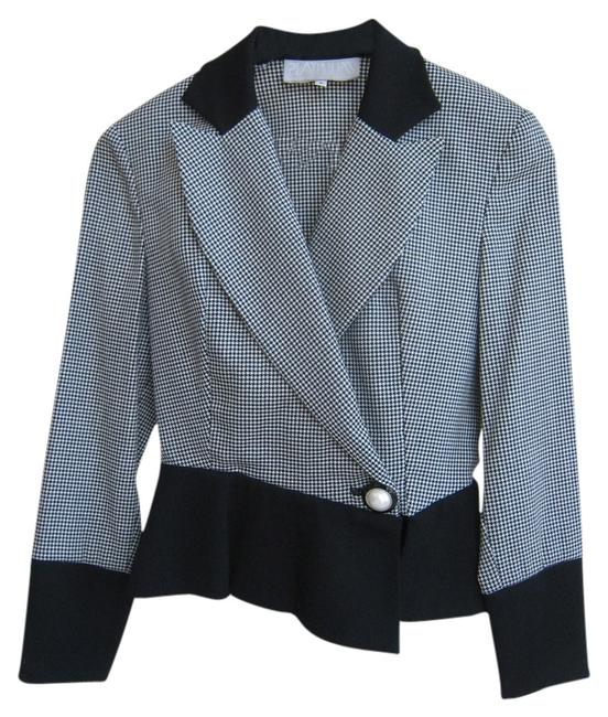 Other Platinum Br Fitted Suit Black and White houndstooth pattern Jacket