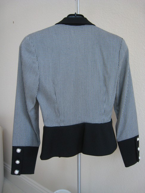 Other Platinum Brand Fitted Suit Black and White houndstooth pattern Jacket
