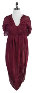 Alexander McQueen Wine Silk Gathered Dress