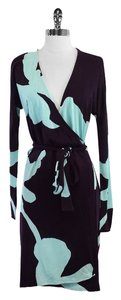 Diane von Furstenberg Blue Print Knit Wrap Dress