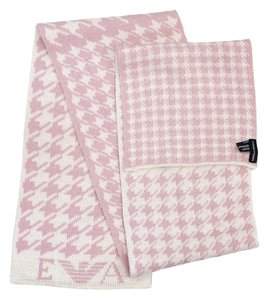 Emporio Armani White & Pink Houndstooth Wool Blend Scarf