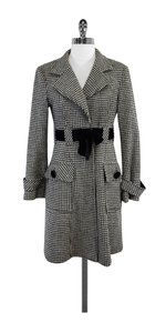 Nanette Lepore White Black Houndstooth Wool Coat