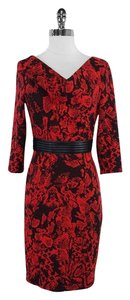 David Meister short dress Black Red Print on Tradesy