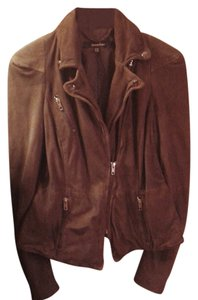 Muubaa Moto Style Snaps On Collar Like New Brown suede Leather Jacket