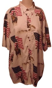 Bit & Bridle Outfitters Vintage Discontinued Rare Button Down Shirt Ivory, Cowboys & USA Flags