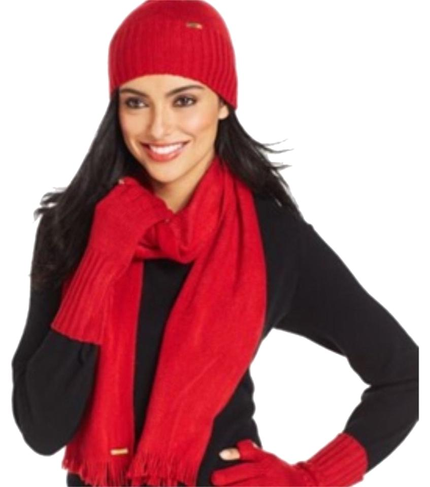 773961911a5 Calvin Klein Calvin Klein Red Scarf Hat   Tech Gloves Set Image 0 ...
