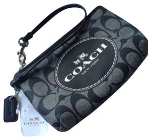 Coach Coach Black-And-White Signature Large Logo Wristlet/Cosmetic Bag