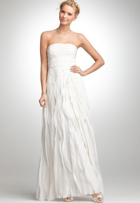Item - Ivory Silk Strapless Georgette Flutter Gown Style 258738 Modern Wedding Dress Size 2 (XS)