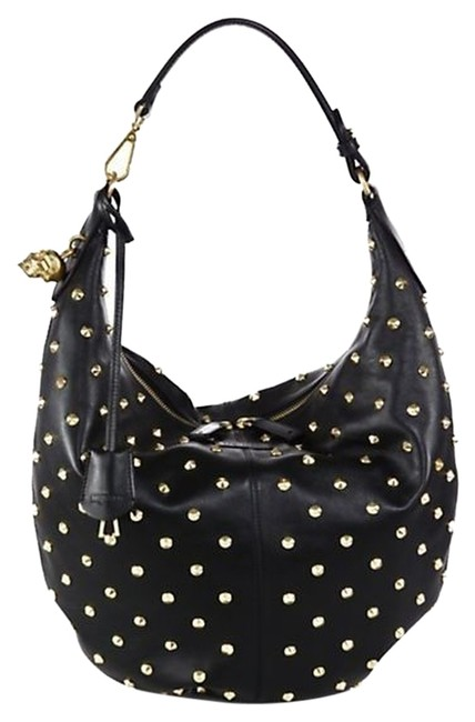 Item - New Spike Studded Padlock Black Leather Hobo Bag