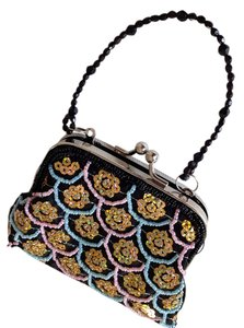 Far Nine Sequins Wristlet in Black with gold, pink, and blue beading accents