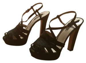 Zara Pltform Suede High Black Sandals