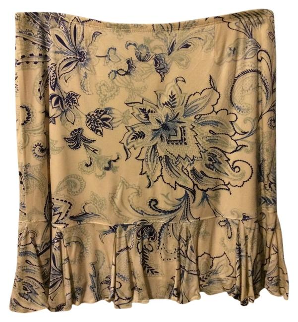 Express Skirt Beige and Blue Flowers