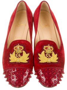 Christian Louboutin Suede Intern Spike Studded Captoe Round Toe Embelished Embroidered Monogram Print Cl Loafer 38 8 Red Flats