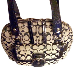 Coach Signature Leather Like New Satchel in Black/silver