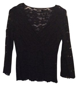 Banana Republic Lace Lace Top Black