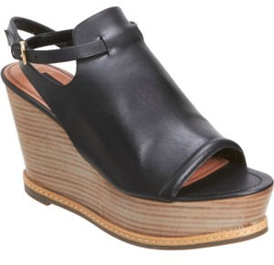 Derek Lam Leather Slingback Open Toe Black Platforms